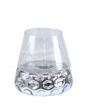 Medium Silver Dimple Candle Holder