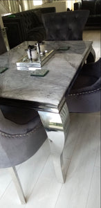 1.2m Louis Grey Marble & Stainless Steel Dining Table