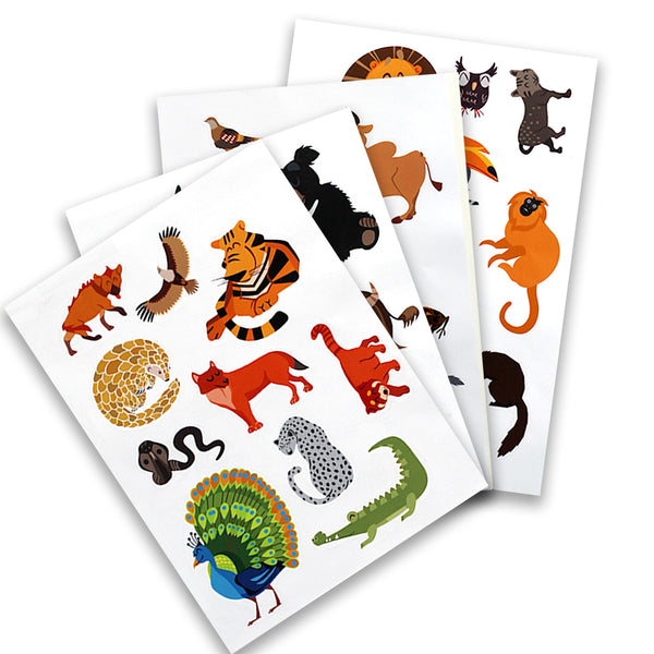Indian Wild Safari Wall Stickers - Set of 4