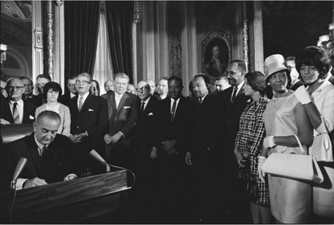 Zephyr Wright in the front on the left at the signing of the 1964 Civil Rights Act