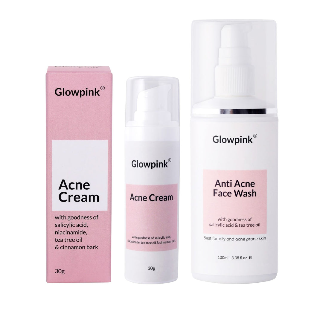 Glowpink acne care combo, Acne Cream and Acne Face Wash with Salicylic acid, niacinamide,tea tree oil & cinnamon bark - Glowpink