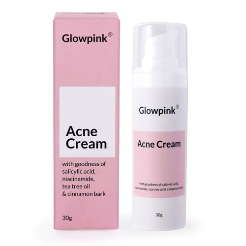 Glowpink Acne Cream with Salicylic Acid, Niacinamide, Tea Tree Oil & Cinnamon Bark - Glowpink