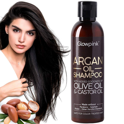 Glowpink Argan Oil Shampoo With Olive Oil & Castor Oil , No Parabens, No Sulphate 200ml - Glowpink
