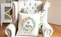 Qualtry Nonpersonalized Spring Throw Pillow Covers | Square Decorative Pillowcase | Throw Pillow Covers Soft Outdoor Cushion Covers 18 X 18. (He is Risen - Floral Wreath)