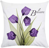 YMSDZHL Print Elegant Tulip Purple Flower LinenThrow Pillow Cover Sofa Couch Art Painting for Living Room Decor Cushion Cover and Modern Home Decorations Pillowcase(4#)