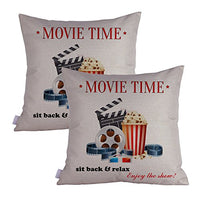 Queenie - 2 Pcs Movie & Music Theme Decorative Pillow Cases Throw Cushion Covers 35 cm x 50 cm 14 x 20 Inch (Movie Ticket Green)