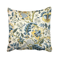 Shorping Zippered Pillow Covers Pillowcases 18X18 Inch Floral Jacquard Print Blue Yellow hues Decorative Throw Pillow Cover,Pillow Cases Cushion Cover for Home Sofa Bedding Bed Car Seats Decor