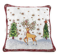 Tache Festive Christmas Poinsettia Elegant Holiday Tidings Decorative Tapestry Accent Throw Pillow Cushion Cover, 2 Piece 16 x 16
