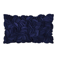 King Rose Handmade 3D Flower Throw Pillow Cover Home Decorative Cushion Cover Rectangular Pillowcase Artwork Cushion Sham for Sofa Couch Chair Bed Living Room 12 x 20 Inches Wool Navy Blue