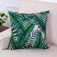 Unibedding Tropical Floral Banna Leaves Throw Pillows Covers Case - Outdoor Cotton Linen Square Palm Plant Cushion Covers for Home Summer Decor 18 X 18 Inch
