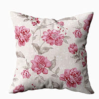KIOAO Yellow Floral Pillow,20x20 Pillow Case, Standard 20X20Inch Soft Square Throw Pillowcase Covers Pattern Pink Flowers Leaves on Printed with Both Sides,Pink Black 2