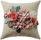 JWH 3D Flowers Accent Pillow Case Solid Suede Cotton Cushion Cover Decorative Home Bed Living Room Shell Gift 18 x 18 Inch