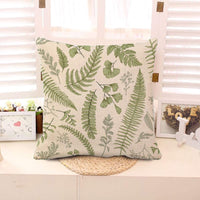 Throw Pillow Cover Green Leaf Floral in Vintage Style Leaves and Herbs Botanical Boxwood Seeded Eucalyptus Fern Maidenhair Square Pillow Case Home Decor 18x18 Inches Pillowcase Cotton Linen