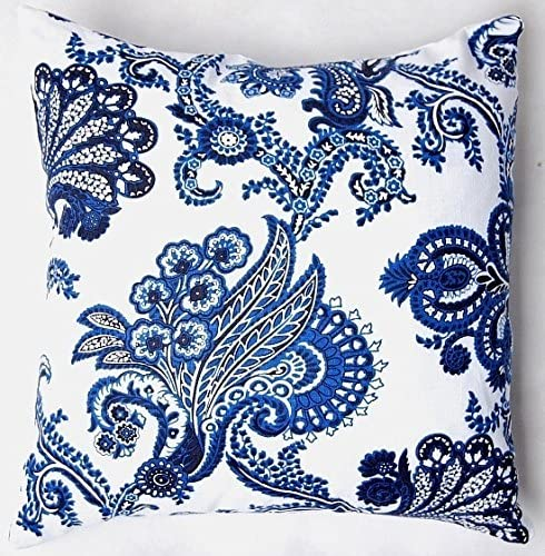 "TAOSON Chinese Old Blue Print Cotton Blend Linen Pillow Sofa Throw Pillow Case Decor Cushion Cover (24""x24""(60x60cm), Flowers)"
