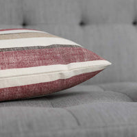 MIULEE Pack of 2 Decorative Classic Retro Stripe Throw Pillow Covers Cotton Linen Modern Farmhouse Pillow Case Cushion Case for Sofa Bedroom Car 24 x 24 Inch Red and Brown