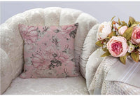 HGOD DESIGNS Floral Throw Pillow Cover,Flowers and Leaves Pink Watercolor Floral Blossom Flower Rose Spring Decorative Pillow Cases Cotton Linen Square Cushion Covers for Home Sofa Couch 18x18 inch