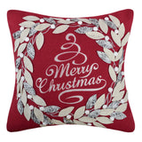 King Rose Merry Christmas Embroidery Throw Pillow Cover Wreath Applique Pillowcase Pillow Sham Home Decorative Cushion Cover for Sofa Couch Chair Bed Living Room 18 x 18 Inches Christmas Red