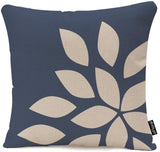 Throw Pillow Cover Navy Anemone Dusk Blue Pale Pink Gray White Watercolor Floral Corner Bouquet Arrangement Decorative Pillow Case Home Decor Square 18x18 Inches Pillowcase