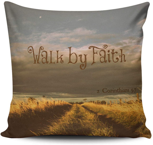 WULIHUA Throw Pillow Cases Sofa Cushion Cover Home Decoration Walk by Faith Bible Verse Scripture Square Custom Pillowcase Size 24X24 Inches Simple and Elegant Double Sides Printed