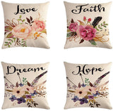 Ussuperstar VIGVOG Set of 4 Throw Pillow Covers Boho Hippy Elephant Tree of Life Cushion Cover Throw Floral Printed Pillow Case 18 X 18 Inch Pillowcase Multicolor (BV3)
