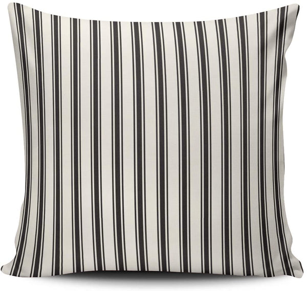 WEINIYA Bedroom Custom Decor Classic Stripe Pattern Black and Cream Pillow Cover Case Elegant Design Double Sides Printed Patterning Square 24x24 Inches