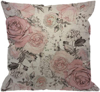 HGOD DESIGNS Pink Flowers Throw Pillow Cover,Watercolor Leaves Floral Rose in Pastel Color Decorative Pillow Cases Cotton Linen Square Cushion Covers for Home Sofa Couch 18x18 inch