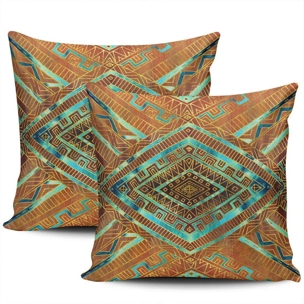 FASLMH Sofa Decoration Pillowcases 2 Pack Teal Tribal Ethnic Boho Square Cushion Case Throw Pillow Covers 24x24 Inch Double Sides Print