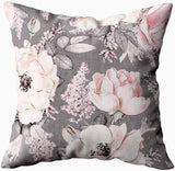 KIOAO Pillowcase Standard 20X20Inches Square for Cushion Home Decorative,Pink Peonies Gray Leaves the Black Throw Pillows Background Pattern Romantic Garden Pillow Covers Printed Both Sides,Pink Black