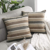MIULEE Pack of 2 Decorative Classic Retro Stripe Throw Pillow Covers Cotton Linen Modern Farmhouse Pillow Case Coffee Cushion Case for Sofa Bedroom Car 18 x 18 Inch 45 x 45 cm