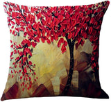 ChezMax Flat Printed 3D Oil Painting Effect Home Decorative Cotton Linen Throw Pillow Cover Cushion Case Square Pillowslip for Chair Back Red Floral 18 X 18''