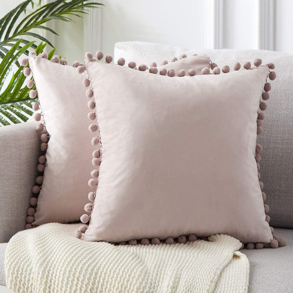 Top Finel Decorative Throw Pillow Covers for Couch Bed Soft Particles Velvet Solid Cushion Covers with Pom-poms 24 x 24 Inch 60 x 60 cm, Pack of 2, Blush Pink
