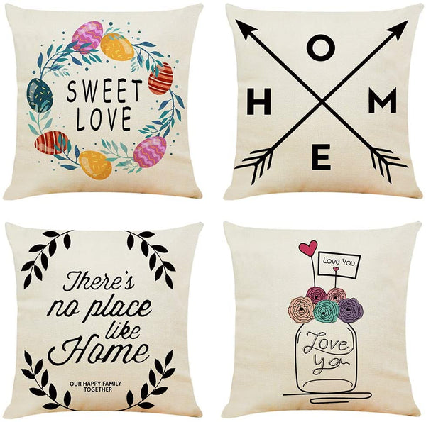 unbrand Spring Farmhouse Throw Pillow Covers 18x18 Inch, 4 Pack Vintage Home Decorations Throw Pillow Case Cushion Cover for Sofa Couch Sweet Love Floral Cotton Linen Housewarming Gifts by WERLCHS