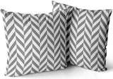 FASLMH Sofa Decoration Pillowcases 2 Pack Gray and White Herringbone Square Cushion Case Throw Pillow Covers 24x24 Inch Double Sides Print