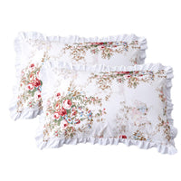 TEALP Romantic Floral Pillow Shams with Ruffles 20x30 inch, Set of 2