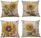 "Ogrmar 4PCS 18""x18"" Throw Pillow Covers Christmas Decorative Couch Pillow Cases Cotton Linen Pillow Square Cushion Cover for Sofa, Couch, Bed and Car (Sunflower)"