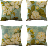 WOMHOPE Set of 4 Vintage Spring Flower Decorative Throw Pillow Covers Pillow Cases Cushion Cases Burlap Toss Throw Pillow Covers 18 x 18 Inch for Living Room,Couch and Bed (White Flower)