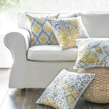 Phantoscope Set of 4 New Living Series Yellow and Grey Decorative Throw Pillow Case Cushion Cover 18 x 18 inches 45 x 45 cm