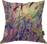 Moslion Floral Pillow Case Vintage Art Nature Irises Flower Leaves Throw Pillow Cover Cotton Linen for Home Sofa Decorative Square Cushion 24x24 Inch Purple Green