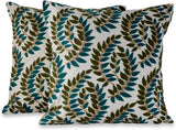 NOVICA Set of 2 Embroidered Orange and Teal Floral Glorious' (Pair) Applique Cushion Covers