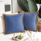 Phantoscope Pack of 2 Farmhouse Decorative Throw Pillow Covers Burlap Linen Trimmed Tailored Edges Navy Blue 18 x 18 inches, 45 x 45 cm