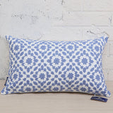 Aitliving Throw Pillow Cover Cotton Canvas 1pc Trellis Mina Blue Decorative Lumbar Pillow Cover 12x20 inch Cushion Cover 30x50cm