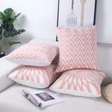Zeroomade Decorative Throw Pillow Covers Embroidery Square Solid Durable Cotton Cushion Cover 18×18 inches Pink&Blue Pack of 4