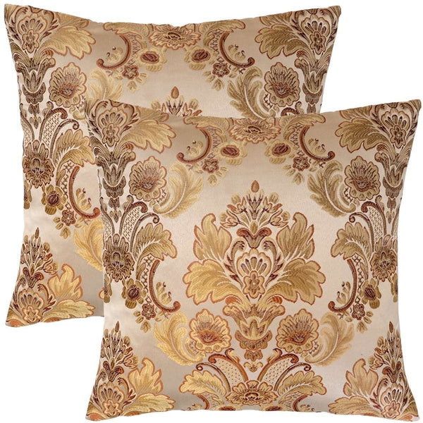 Grelucgo Set of 2, Cushion Covers Throw Pillows Cases Shells, Decorative Damask Floral, Square 18 x18 Inch