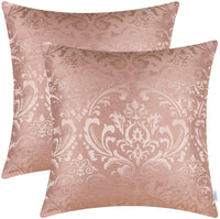 CaliTime Pack of 2 Throw Pillow Covers Cases for Couch Sofa Home Decoration Vintage Damask Floral Shining & Dull Contrast 18 X 18 Inches Dusty Pink