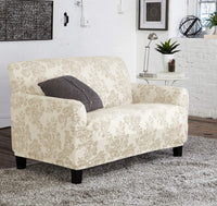 Great Bay Home Velvet Plush Stretch Loveseat Slipcover. Velvet Loveseat Furniture Protector, Soft Anti-Slip, High Stretch (Loveseat- 2 Seater, Silver Cloud - Toile)