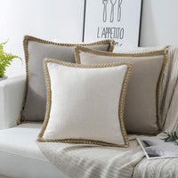 Phantoscope Farmhouse Decorative Throw Pillow Covers Burlap Linen Trimmed Tailored Edges Outdoor Pillows Off White 18 x 18 inches, 45 x 45 cm
