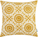HWY 50 Yellow Embroidered Decorative Throw Pillow Covers Cushion Cases for Couch Sofa Bed Little Sunflower Geometric Floral Decor 18 x 18 inch 1 Piece