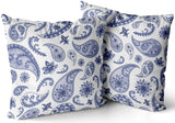 Pnfdjfgh Pack of 2 Bedding Sofa Pillowcases Paisley Oriental Floral Abstract Vintage Blue Navy Hidden Zippered Decorative Throw Pillow Cover Square Size 24x24 Cushion Cases Two Sides Print