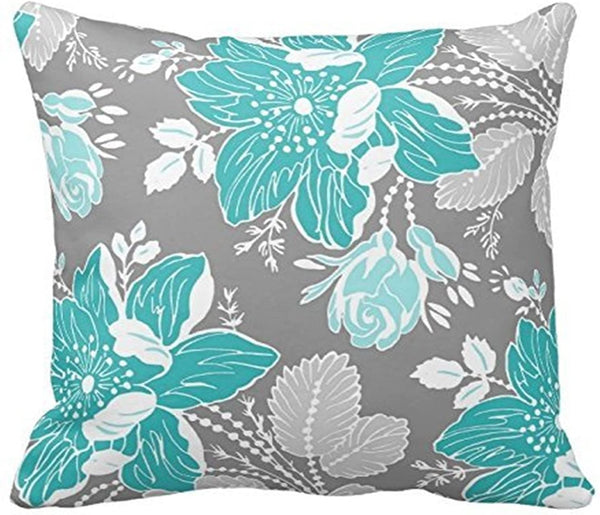Leaveland Chic Teal and Gray Floral Pattern Decorative Throw Pillow Cover Cushion Case Home Square 16 X 16 Inches One Side