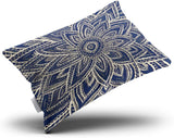 Skully Hot Lumbar Modern Gold Navy Blue Abstract Floral Illustration Hidden Zipper Home Decorative Rectangle Throw Pillow Cover Cushion Case 12x24 Inch One Side Design Printed Pillowcase